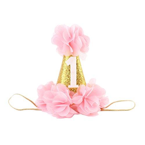 Demarkt 1 Pcs Enfants Elastique Couronne Bandeau Cheveux Dentelle en Dentelle Headband Extensible Humidité Hairband Twisted Hair pour Anniversaire Accessoire 8 * 13cm Rose