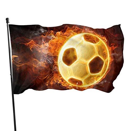 DOWNN Outdoor-Flagge, 90 x 150 cm, 3D-brennende Fußballfahne mit roter Flamme, sonnenfest, farbecht, dekoratives Banner mit Ösen für Paraden, Innenhöfe, Partys