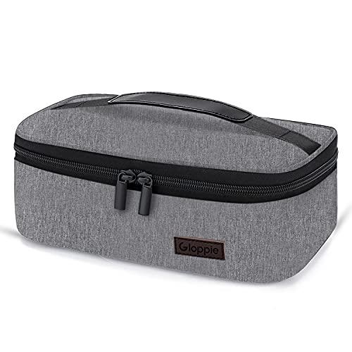 Gloppie Pequeña bolsa de almuerzo Mini fiambrera aislada para hombres y mujeres, caja niños adultos adultos, contenedor térmico reutilizables bolsas aperitivos loncheras gris