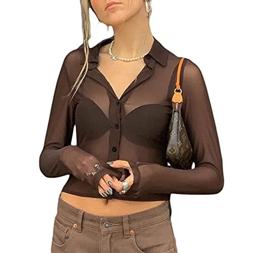 Siyova Top de mujer de manga larga sexy transparente liso con botones blusa de mujer elegante cárdigan corto Crop Top Chica Y2k Slim Fit Clubwear, marrón, M