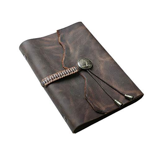 ZHIHUI Libretas Libreta A5 Cuaderno de Cuero náutico de la Vendimia Escritura de un Diario, Espiral clásica Cuaderno Encuadernado Regalos Recargable Diario Sketchbook Diarios (Color : Brown)