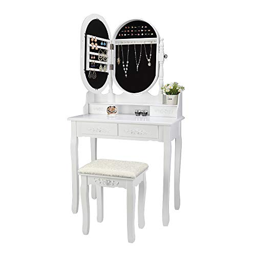 Buy Bargain Bonnlo Vanity Table with Jewelry Cabinet Modern White Vanity Set for Girls 4 Drawers Mak...