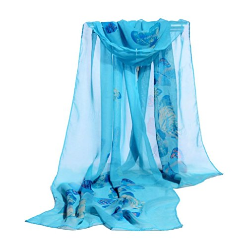 OVERDOSE Mode Frauen Chiffon Schmetterling Schal Weiche Wrap Schal Halstuch Tücher Schlauchschal Damen Schal Shawl,A-Blue