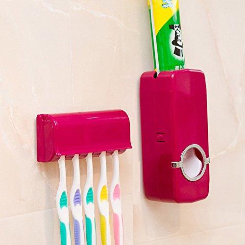 Creative Light- Einfache und Moderne Automatische Zahnpasta-Maschine staubdichte Antibakterielle 5 Zahnbürstenhalter (Farbe : Red)