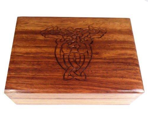The Online Bazaar geschnitzt Keltischer Gestaltung Holz BOX- für Schmuck, Glücksbringer Tarot Karten oder Schmuckstück