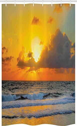 ABAKUHAUS Meer Schmaler Duschvorhang, Sonnenuntergang-Strand in der Brasilien-Stadt, Badezimmer Deko Set aus Stoff mit Haken, 120 x 180 cm, Orange Grau