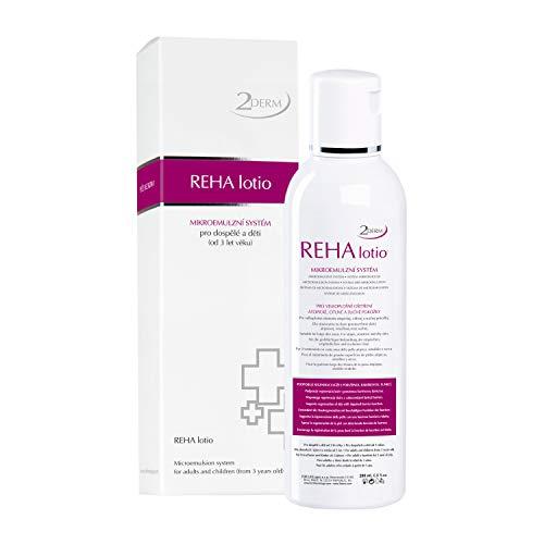 REHA Psoriasis und Neurodermitis Lotion - Patentierte Heilende Haut Behandlung für alle Hauttypen - Wirksame Salbe zur Hautpflege bei Schuppenflechte, Ekzem, Ausschlag, Akne - Auch für Kinder geeignet