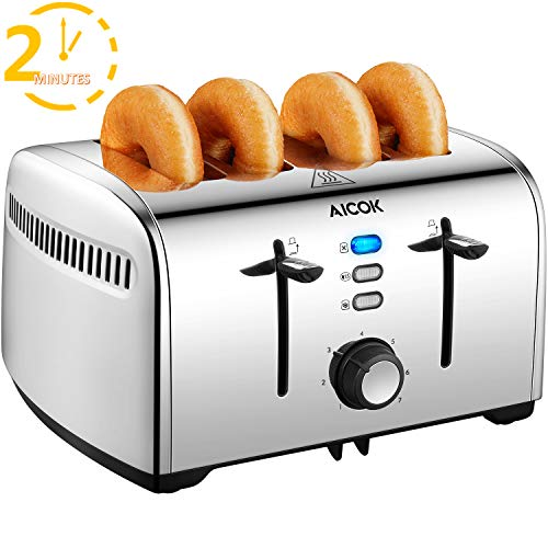 Toaster, 4 Slice Stainless Steel Toaster with 1.6inch Wide Slots, Bagel Defrost...
