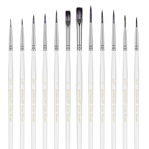 MARKART 12 Pieces Fine Detail Paint Brush Miniature Painting Brushes Kit Mini Paints Brush Set for Acrylic, Watercolor, Oil, Art, Face, Nail, Scale, Model Line Drawing, Paint by Numbers