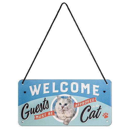 Nostalgic-Art Retro Hängeschild Animal – Welcome Guests Cat – Geschenk-Idee für Katzen-Besitzer, aus Metall, Vintage-Design zur Deko, 10 x 20 cm