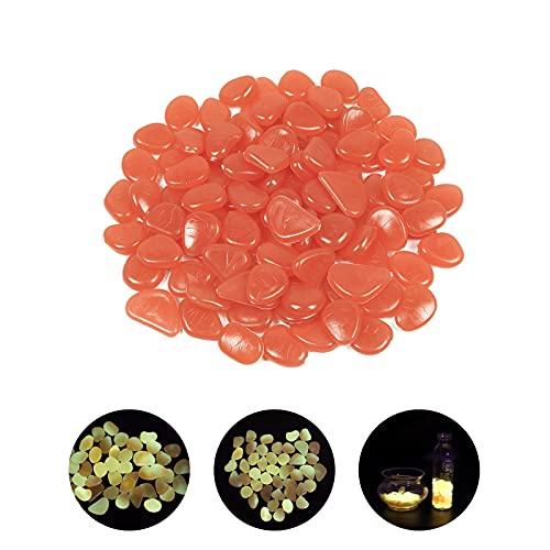 Onunaf 100 piedras luminosas multicolor, piedras fluorescentes para jardín, decoración para caminos exteriores, para acuarios, parterres, terrazas, césped, color naranja claro