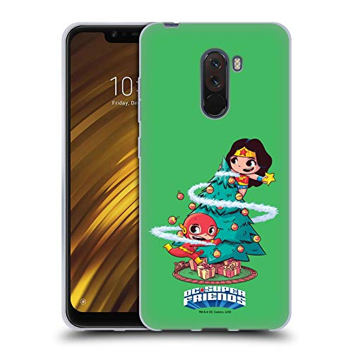 Head Case Designs Offizielle Super Friends DC Comics Weihnachtsbaum Kleine Kinder Ferien Soft Gel Huelle kompatibel mit Xiaomi Pocophone F1 / Poco F1