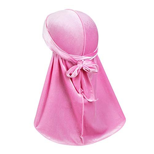 Luxury Velvet Wave Durag - Silky Durag Headwraps with Extra Long Tail for 360 Waves Baby Pink