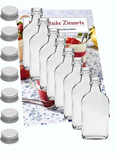 Set van 24 zakfles 200 ml I zilveren schroefdeksel I XL-Flachmann I likeurfles I jeneverfles I flesjes voor alcohol I sterke dranken, azijn & olie