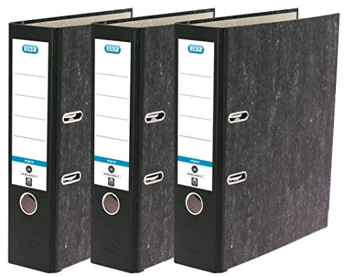 Elba Ordner A4, Wolkenmarmor Recycling, schwarz, 3er Pack, 400150978, a4, breit