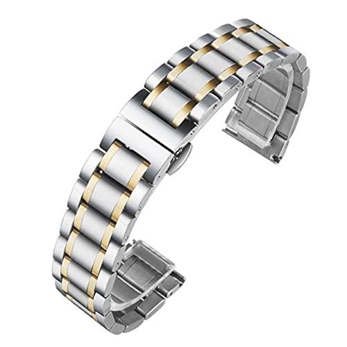 FJXJLKQS Correa de Reloj Correa de Reloj de Repuesto de Malla de Acero Inoxidable Ajustable Transpirable E Impermeable Liberación Rápida,A-13mm