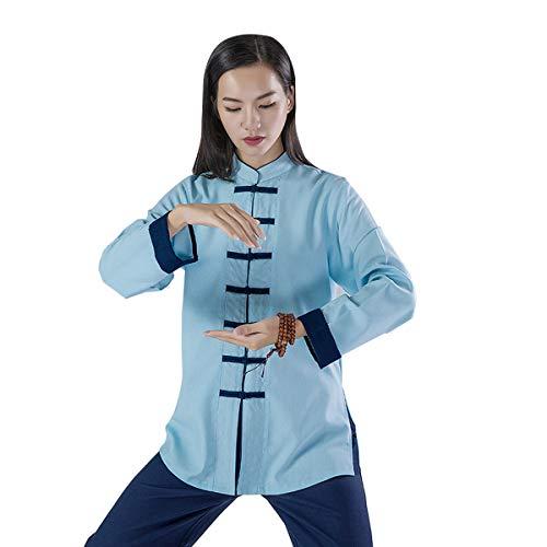KSUA Frauen Martial Arts Uniform Tai Chi Anzug Chinesische Kung Fu Kleidung Baumwolle Wing Chun Kleidung Zen Meditation, Blau EU L/Etikett XL