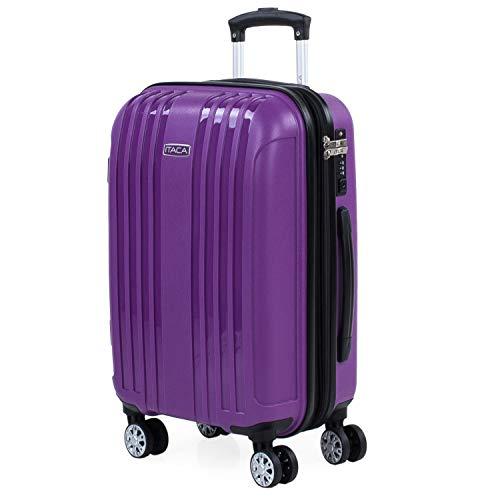 ITACA - Valigia da cabina estensibile +3cm 4 ruote doppie girevole. Trolley in polipropilene. Rigida, resistente, e leggera. Lucchetto TSA integrato. Qualità e dissegno. 760250, Color Viola
