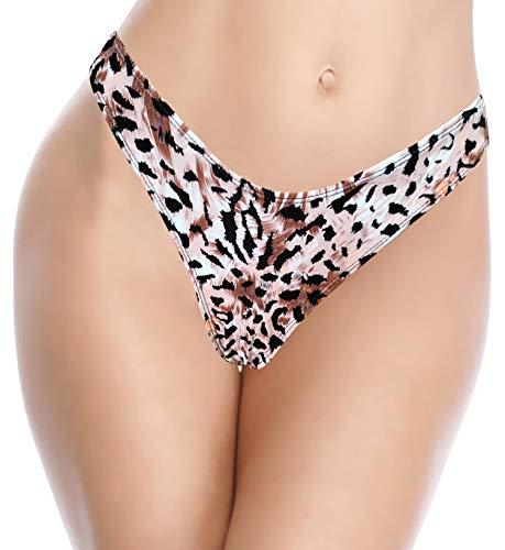 SHEKINI Damen Brazilian Bikinihose V Form String Thong Unterteil Elastizität Frau Schwarz Bademode Leopard Badehose (S, Leopard-2)