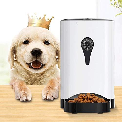 Hancoc Botón blanco control manual mascota perro gato alimentador automático 4.5L gran capacidad grabable cámara de alimentación máquina tazón sincronización cuantitativa doble potencia batería ABS de
