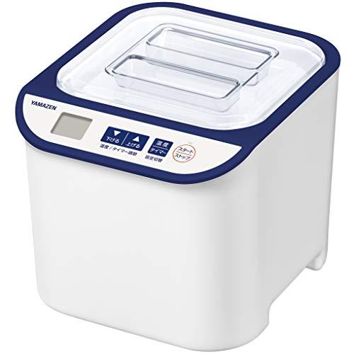 [山善] ヨーグルトメーカー 飲むヨーグルト 「簡単お手入れ いつでも清潔」 温度調整機能付き レシピブック付き 発酵食メーカー ブルー YXA-100(BL) [メーカー保証1年]