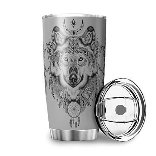 Knowikonwn Kaffeetasse mit Wolf, Traumfänger-Motiv, doppelwandig, mit strapazierfähiger Pulverbeschichtung für heiße Getränke, Edelstahl, weiß, 600ml ( 20oz )