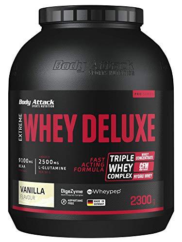 Body Attack Extreme Whey Deluxe, Eiweißpulver mit Aminosäuren, Triple-Whey-Complex, CFM Whey Isolate, perfekt lösliches Protein-Pulver, fettarm, zuckerarm, Made in Germany, Vanilla Cream, 2,3 kg