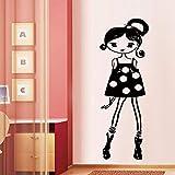 Mignon petite fille sticker mural salon TV canapé fond mur chambre chevet embellissement décoratif sticker mural 33x57 cm