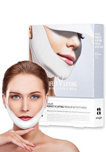 Avajar Perfect V Lifting Premium Activity Mask 5pcs - V Line Mask   Face Lifting Mask   Face Slimmer   Chin Strap For Double Chin Remover   V Shaped Slimming Face Mask   Double Chin Mask