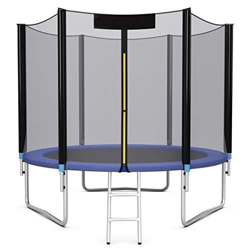 COSTWAY Trampolino da Giardino con Rete di Sicurezza, Trampolino Elastico per Interno ed Esterno, Set Completo (Blu-Nero, Ø305x220cm)