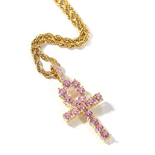 Hip Hop Jewelry Bevroren uit Roze Vrouwelijk Teken DwarsTegenhanger Golden Cubaanse Chain/Rope Chain godsdienstige Christelijke ketting mode-accessoires Geschenken,Gold + 24inch rope chain