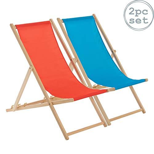 Harbour Housewares Traditional Adjustable Beach Garden Deck Chairs - Red/Light Blue