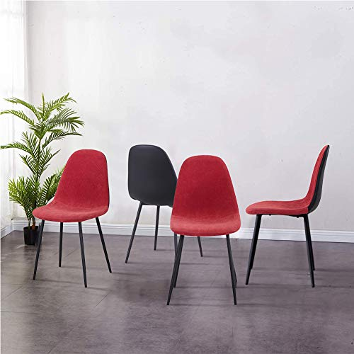 GOLDFAN 4er Set Küchenstühle Esszimmerstuhl Stoff Stuhl Moderner Eleganter Wohnzimmer Stuhl mit Schwarze Beine,Rot