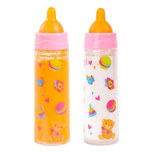 Bayer Design 79201AE Magische Flasche, Milchfläschchen, Trinkflasche, Puppenzubehör, weiß und orange