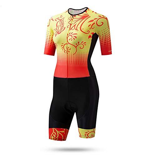 TZTED Damen Gepolsterter Prämium Triathlon Trisuit Kompression Duathlon Laufen Schwimmen Fahrradfahren Skinsuit Tri Anzug,S