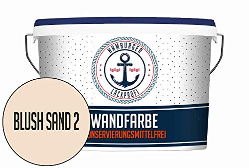 Hanse Wandfarbe KONSERVIERUNGSMITTELFREI Blush Sand 2 matt Beige Innenfarbe Dispersionsfarbe HOCHDECKEND & GERUCHSARM (5 L)