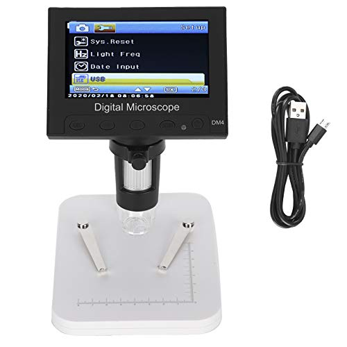 Pwshymi VGA Magnifier LCD Display Portable Digital Microscope Digital DM4 1000X 2.0MP 4.3in for Educational Teaching Electronic Repair Work