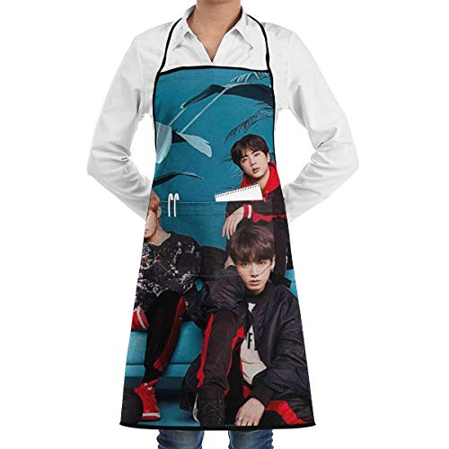 YOUBO K-pop BTS Album Funny Aprons for Men, Women with1Pockets - Dad Gifts, Gifts for Men - Birthday Gifts for Husband, Dad,Mom-Kitchen Cooking Grilling Apron