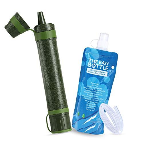 WenderGo Tragbarer Mini-Wasserfilter, Strohreiniger, Schwerkraft-Outdoor-Survival-Ausrüstung für Wandern, Camping, Reisen, Rucksackreisen, Outdoor-Sportarten und Notfallvorsorge