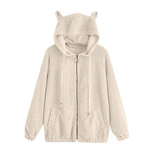 WINLISTING Frauen beiläufige Normallack-Lange Hülsen-Bärenohren Zip Pocket Hooded Jacket Coat