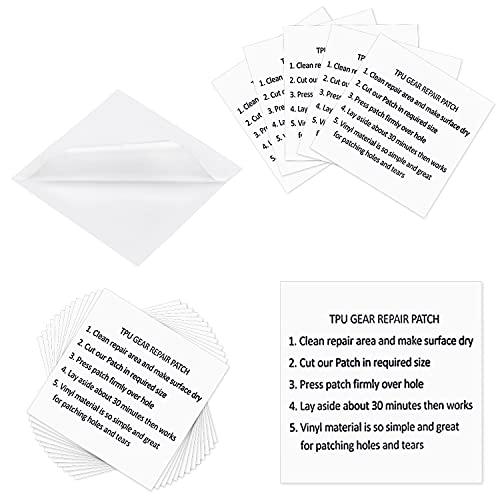 KYYLZ Toppe di Riparazione 20 Pz Patch di Riparazione Impermeabile Autoadesivo Trasparente Riparazione Piscina Patch, Nastro di Riparazione Trasparente per Tenda da Campeggio, Kit Gonfiabile,7 x 7 cm