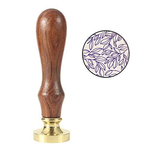 Mogoko - Sigillo vintage per ceralacca, stile retrò, color rame, con manico in legno Foglia