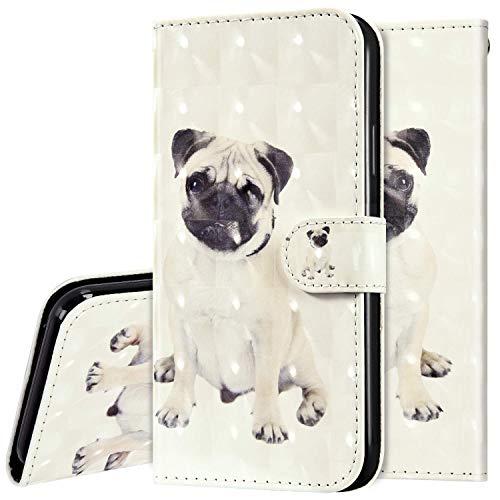 Surakey kompatibel mit Xiaomi Mi Note 10 Lite Hülle Leder Handyhülle,Bunt 3D Bling Glitzer Glänzend Muster Leder Tasche Schutzhülle Klapphülle im Bookstyle Handytasche Flip Case Cover,Hund