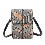 Bolsa de hombro pequeña, diseño abstracto de Chevron de hormigón y cobre cruzado, cartera para teléfono celular, bolso cruzado ligero para mujeres y niñas