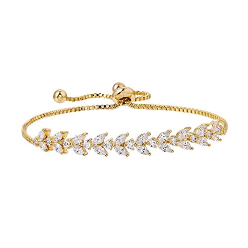 MEEDOZ White Gold/Gold/Rose Gold Plated Marquise Teardrop Cubic Zirconia Classic Tennis Bracelet for Women | Adjustable Slider