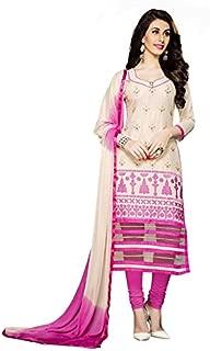 Manvaa Faux_Cotton Women'S Thread_Work Dress Materials In Cream Color_Semi Stitched