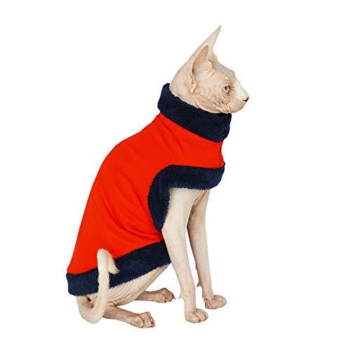 Khemn Designer-Kleidung, Warm-Pullover mit fleece-best für hairless Katze, Rot und Schwarz