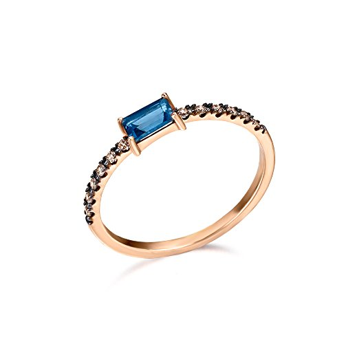 Anillo de aro plano con Topacio London Blue (3x5 mm) y diamantes Brown (0,096 quilates), fabricado en Oro Rosa 18kt, de LECARRÉ JOYAS.