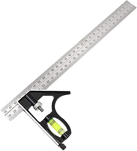 Quadrato combinato Righello di Posizionamento, Righello angolare in acciaio inossidabile per plotter in legno per misurazioni angolari da carpentiere a 45 ° / 90 °