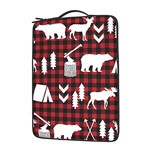 MBNGGAB Buffalo Plaid Woodland Christmas Laptop Sleeve Case, Laptops Sleeve Water Resistant Portable Computer Carrying Case Notebook Computer Tablet Bags for Men Women 13/14/15.6 inch